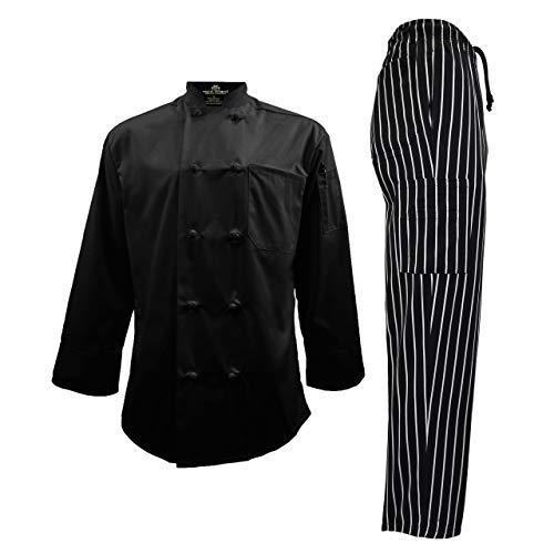 Men's Chef Uniform Set - Chef Coat and Cargo Pant (Large, Black Coat/Chalkstripe Cargo Pants)
