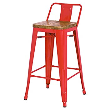 New Pacific Direct Metropolis Metal Low Back Counter Stool 26 Wood Seat,Indoor Outdoor Ready,Red,Set of 4