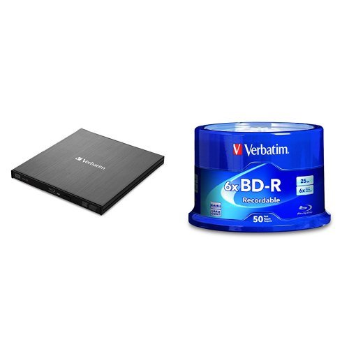 Verbatim External Slimline Blu-ray Writer w/ BD-R 25GB 6X 50pk Spindle by
