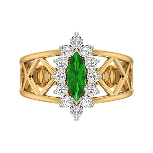 Or jaune 18K 0,62carat Diamant Taille ronde (IJ | SI) Émeraude et diamant Bague