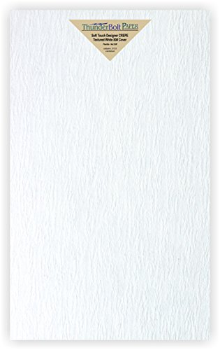 15 NEW Soft Touch Designer CREPE White Cover Paper 8.5 X 14 Inches, Thick 80lb Card Sheets - Texture Runs Long - Legal & Menu Size - Textured Premium Quality, Flexible - Plain Blank Cardstock - Long Menu Card