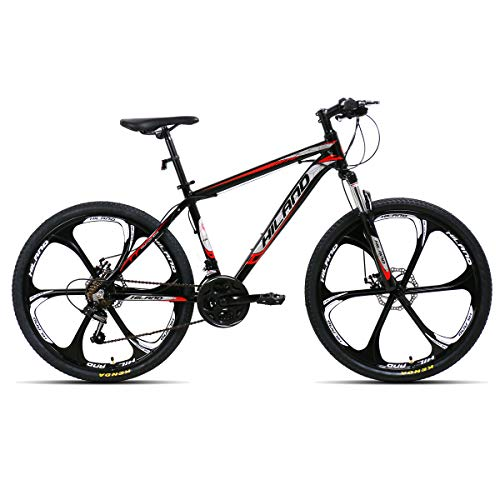 Hiland 26 Inch Mountain Bike 6 Spokes Wheel Aluminum MTB Bicycle with 21 Speeds Disc Brake Suspension Fork Urban Commuter City Bicycle Black
