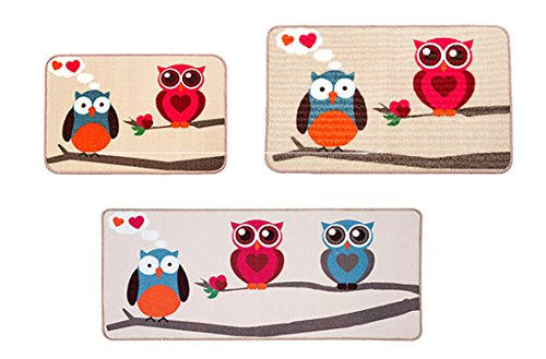 Lldaily 3 Pcs Non-Slip Kitchen Mat Rubber Backing Doormat Entry Runner Rug Set Modern Bath Area Rugs,Owl Design 16x24inches+20x31.5inches+20x47inches