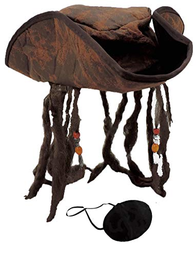 Distressed Brown Carribean Pirate Costume Tri-Corn Hat Adult with Dreadlocks & Eye Patch