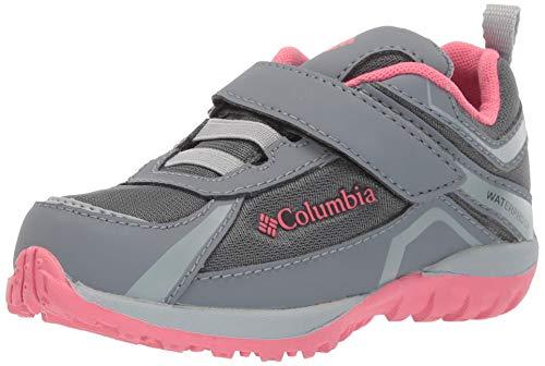 (Columbia Girls' Children's Conspiracy Waterproof Hiking Shoe, Graphite, Camellia Rose, 9 Regular US Little Kid)