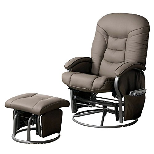 Coaster Casual Bone Leatherette Reclining Glider with Matching Ottoman