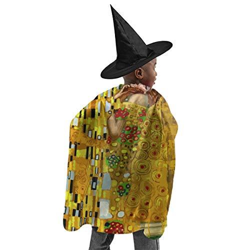 YUIOP Deluxe Halloween Children Costume Gustav Klimt Kisses Wizard Witch Cloak Cape Robe and Hat Set