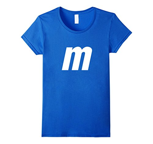 Womens M Letter Halloween Candy Costume T-shirt Small Royal Blue (Halloween Costumes Letter E)