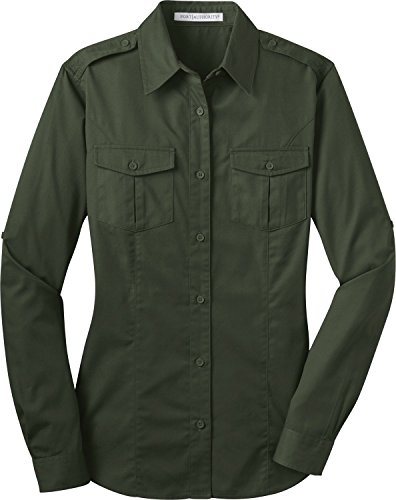 Port Authority Ladies Stain-Resistant Roll Sleeve Twill Shirt. L649, Basil Green, XS ()