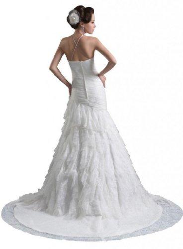 Dresses Neck Wedding Mermaid Women's Train White Trumpet Court Scoop Dearta Tulle Sz4gqwI