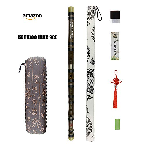 D Key Dizi Black Bamboo Flute with Free Membrane & Glue & Protector Set Traditional Chinese Instrument (Key of D/Black Bamboo)