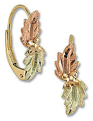Landstroms 10k Black Hills Gold Leverback Earrings with Leaves - G LER374 ()
