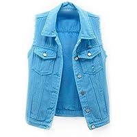 Fulision Women's Gilets Denim Vest Fashion Ladies Buttoned Washed Denim Vest Sleeveless Jean Jacket