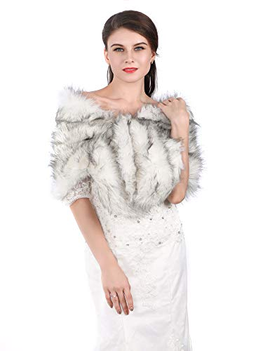 Fur Silver (Aukmla Sleeveless Faux Fur Shawl Wedding Fur Wraps and Shawls Bridal Fur Stole for Brides and Bridesmaids (White with Black))