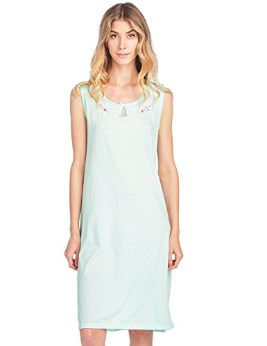 Cotton Embroidered Nightgown - Casual Nights Women's Embroidered Cotton Knit Sleeveless Nightgown - Mint - Small