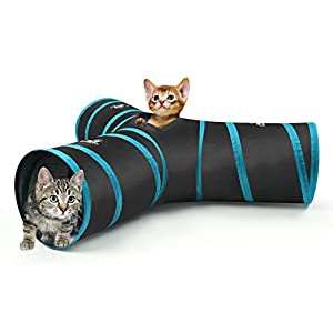 PAWABOO Cat Tunnel, Premium 3 Way Tunnels Extensible Collapsible Cat Play Tunnel Toy Maze Cat House with Pompon and Bells for Cat Puppy Kitten Rabbit, Black & Light Blue 36