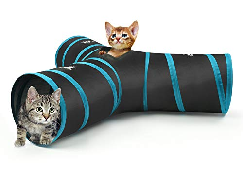 PAWABOO Cat Tunnel, Premium 3 Way Tunnels Extensible Collapsible Cat Play Tunnel Toy Maze Cat House with Pompon and Bells for Cat Puppy Kitten Rabbit, Black & Light Blue ()