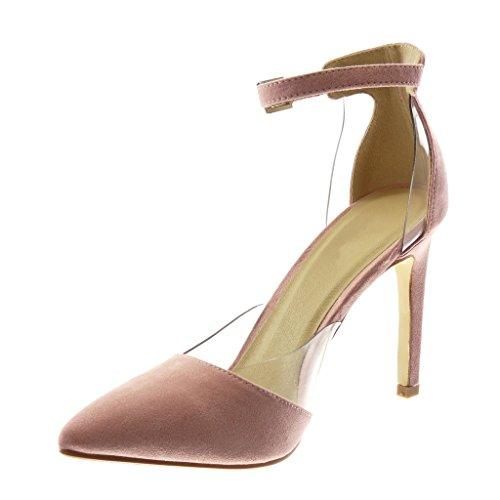 Cm Con Caviglia Scarpe Alla Stiletto Alto Sandali 5 Moda Trasparente Tacco Tanga Donna Cinturino Decollete Rosa Angkorly 10 HatwSq