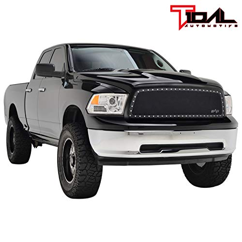 (Rivet Black Stainless Steel Wire Mesh Grille W/Shell for 09-12 Dodge Ram 1500)