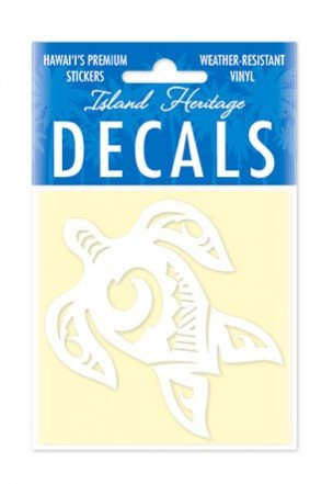 Welcome to the Islands Tribal Honu Turtle Decal Sticker White 3 inch ()