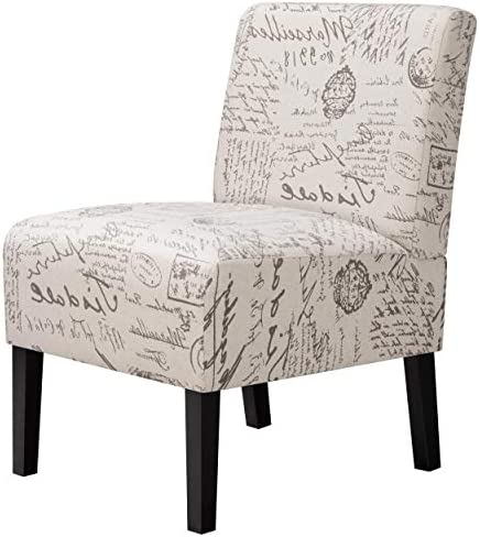 Topeakmart Fabric Armless Accent Chair Modern Letter Print Single Sofa Chair