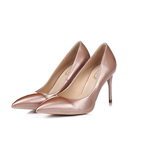 OL Cm 12 Shallow Mariage 5CM 8 Talons Chaussures Mouth Femmes Haut Pointu Bare Printemps Beaux Rose Chaussures Or De Talons Français Dames Chaussures 7qwOwUpT