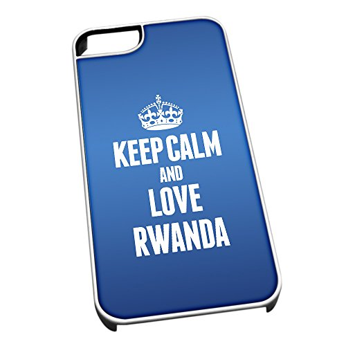 Bianco cover per iPhone 5/5S, blu 2269 Keep Calm and Love Rwanda