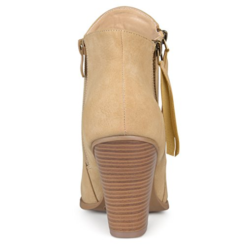 Journee Collection Womens Double Zipper Stacked Wood Heel Booties Taupe 15ysrzwr