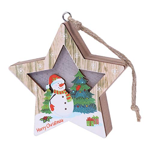 BESTOYARD Christmas Wood Pendant Light Hollow Out Pendant Creative Five-Pointed Star Decor for Home Store Office (Five-Pointed Star Snowman Style, Button Batteries)