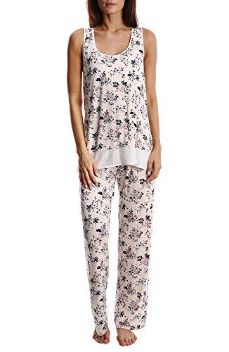 Blis Women's Light and Airy Sleepwear Set Flowy Racerback Tank Top & Pajama Bottoms (Airy Floral, Medium)
