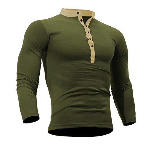 GOVOW Cotton T Shirts for Men Spring Autumn Casual Loose Solid Color Long Sleeve Top(XL,Army Green) ()