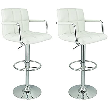 2 X PU Leather Hydraulic Lift Adjustable Counter Bar Stool Dining Chair White Pack Of 2 150 2 Made By Jersey Seating