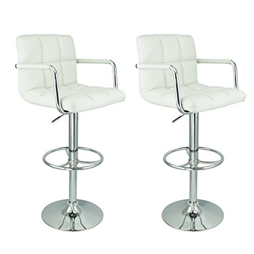 2 x PU Leather Hydraulic Lift Adjustable Counter Bar Stool Dining Chair White -Pack of 2 (150-2) Made By Jersey Seating®