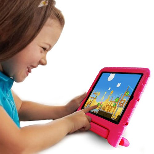 TCD for Apple iPad Air 1 & 2 [iPad 5 & 6] Light Weight Children's [HOT PINK] FOAM Case Cover Stand [MADE FOR CHILDREN] Multi Purpose for Protection Stand [SCREEN PROTECTOR STYLUS] (Hot Pink Ipad 2 Case compare prices)