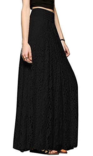 (Chartou Womens Elegant Floral Lace Elastic High Waist Pleated Maxi Long Beach Skirts (Large, Black))