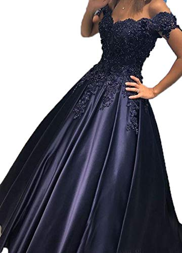 - Scarisee Women's Ball Gown Off-The-Shoulder Beaded Prom Evening Dresses Vintage Lace Appliqued Celebrity Party Gowns Formal Navy Blue 08