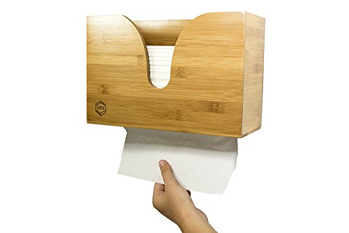 Dispenser Single Fold (Bamboo Dual-Dispensing Multi-Fold Paper Towel Holder. Wall Mount or use on Counter Top, Table, or Sink for Portable Use. Houses Single, Z, C, Multi-Fold Paper/Hand Towels(Paper Towels Not Included))