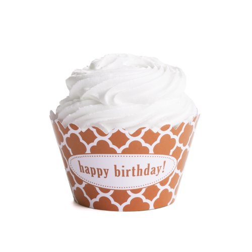 Dress My Cupcake Personalized Message Cupcake Wrappers, Spanish Tile, Quatrefoil, Happy Birthday, Orange, Set of 50 (Spanish Tile Cupcake Wrapper)