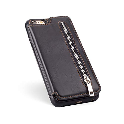 Luxury PU Leather Flip Zipper Case for iPhone 6 6s 7 8 Plus X XS Max XR Wallet Card Holder Cover for Samsung Note 9 8 S9 S8 Plus,Black,for iPhone 7 8