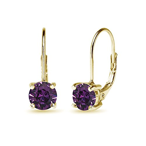 Yellow Gold Flashed Sterling Silver 6mm Round-cut Leverback Earrings Made with Swarovski Crystals