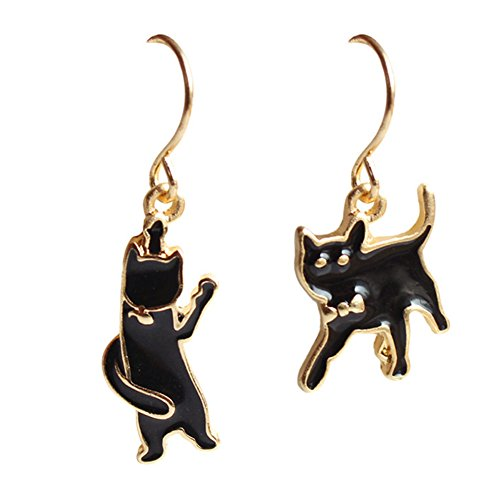 18K Gold Plated irregular AB style Black funny Cat Women Dangle Earrings (Gold Cat Earring Cuff)