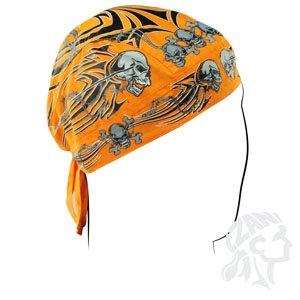 (Zanheadgear Flydanna Bandanna, 100% Cotton, Orange Tribal Skull )