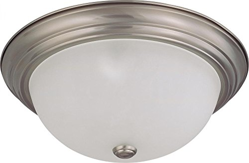 Mahogany Mount Flush Light - Nuvo Lighting 60/3263 Three Light Flush Mount Brushed Nickel/Frosted Glass