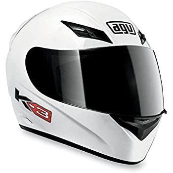 AGV K3 Full Face Motorcycle Helmet (White, Large)