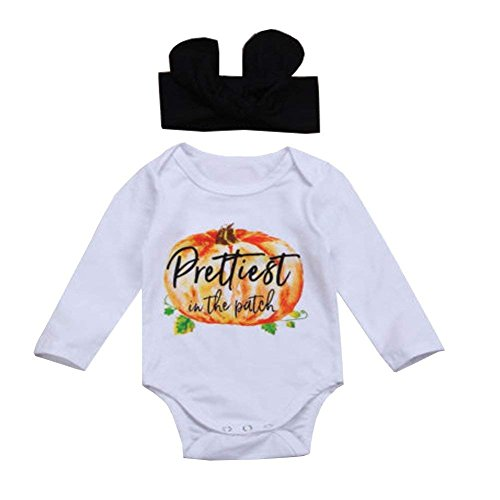 CAIBIET Baby Halloween Clothes Newborn Long Sleeve Romper Baby Girls Boys Clothes 1st Halloween Bodysuit (Baby Halloween Clothes, 3-6M)]()