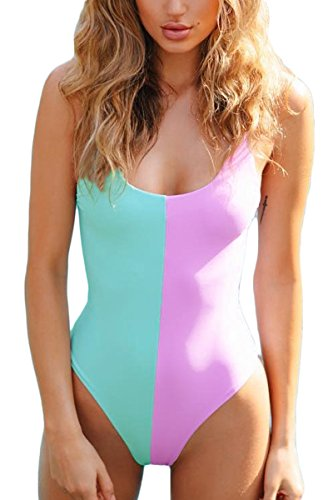 Laucote Womens Sexy High Cut Backless Monokini Contrast Color One Piece Swimsuit