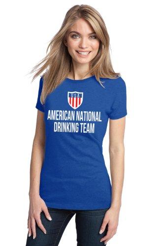 AMERICAN NATIONAL DRINKING TEAM Ladies' T-shirt / Funny USA / America Beer Tee