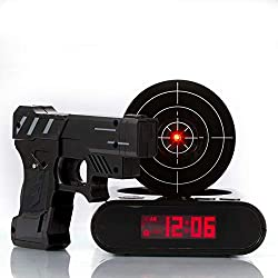 IreVoor Lock N' Load Gun Alarm Clock Target Alarm Clock Creative Gun Shooting Gaming Alarm Clock (Black)