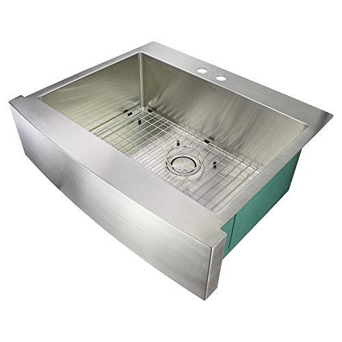 Transolid DTSSF302510-ML2 Diamond 2-Hole Dual Mount Single Bowl 16-Gauge Stainless Steel Kitchen Sink, 30-in x 25-in x 10-in, Brushed Finish