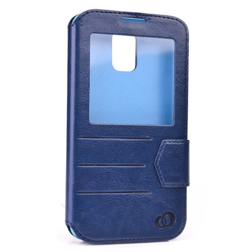 Kroo Slim Folio Flip Case for Samsung Galaxy S5 with Flap and Window - Non-Retail Packaging - Dark Blue